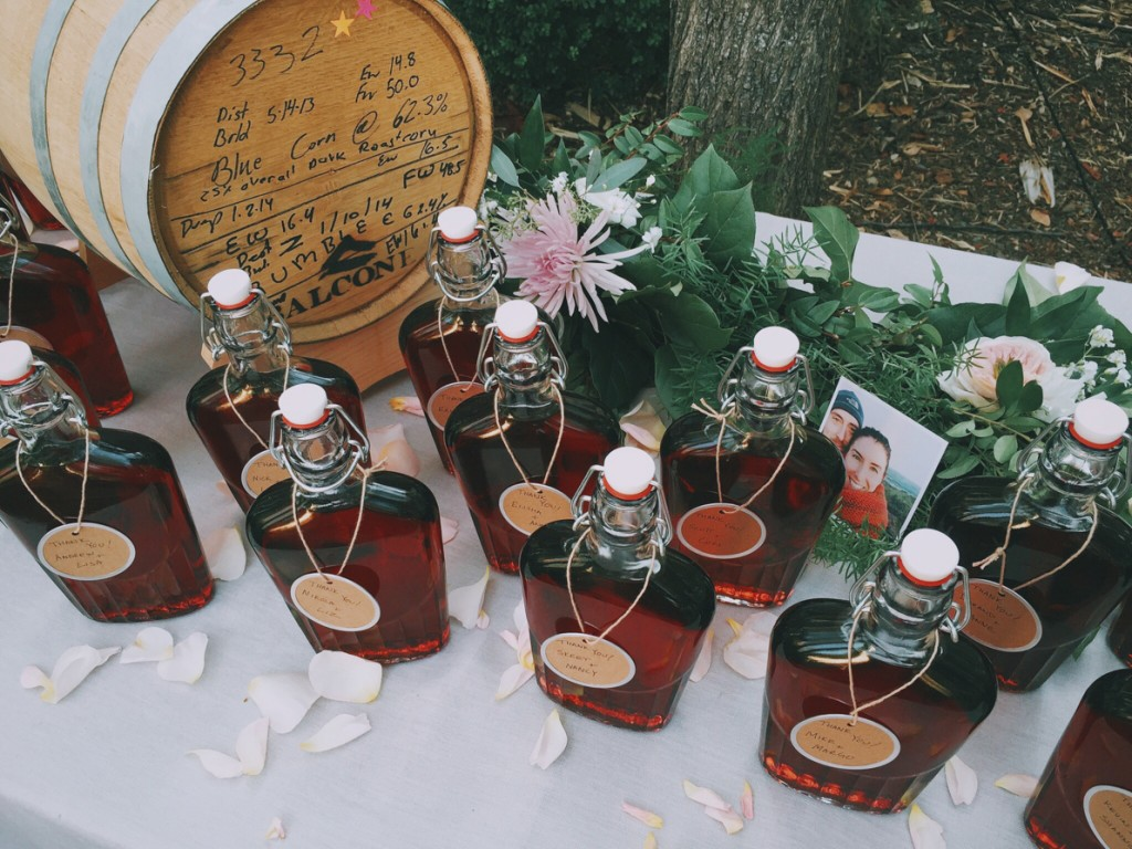 DIY Barrel-Aged Negroni -- Flasks for the wedding